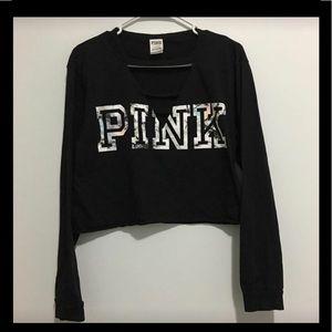 Victoria Secret Pink Front Crop Tee